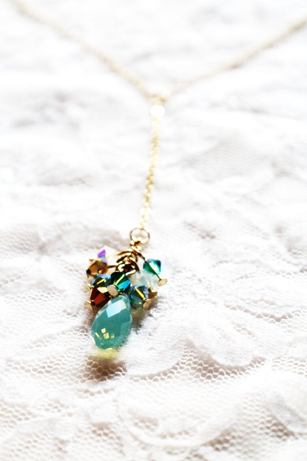 Turquoise and Gold Lariat with Swarovski Briolette and Bead Cluster, Lariat Necklace, Gold Lariat Necklace, Bead Cluster Lariat. $35.00, via Etsy.