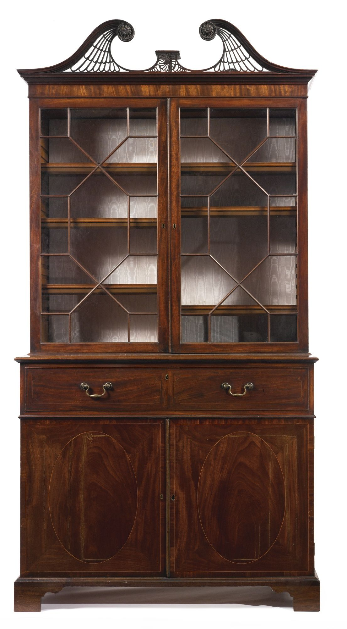 A Fine George III mahogany & satinwood secrétaire bookcase possibly