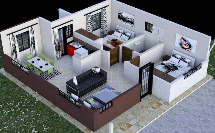 2 Bedroom house plan in Kenya imagens) Projetos de