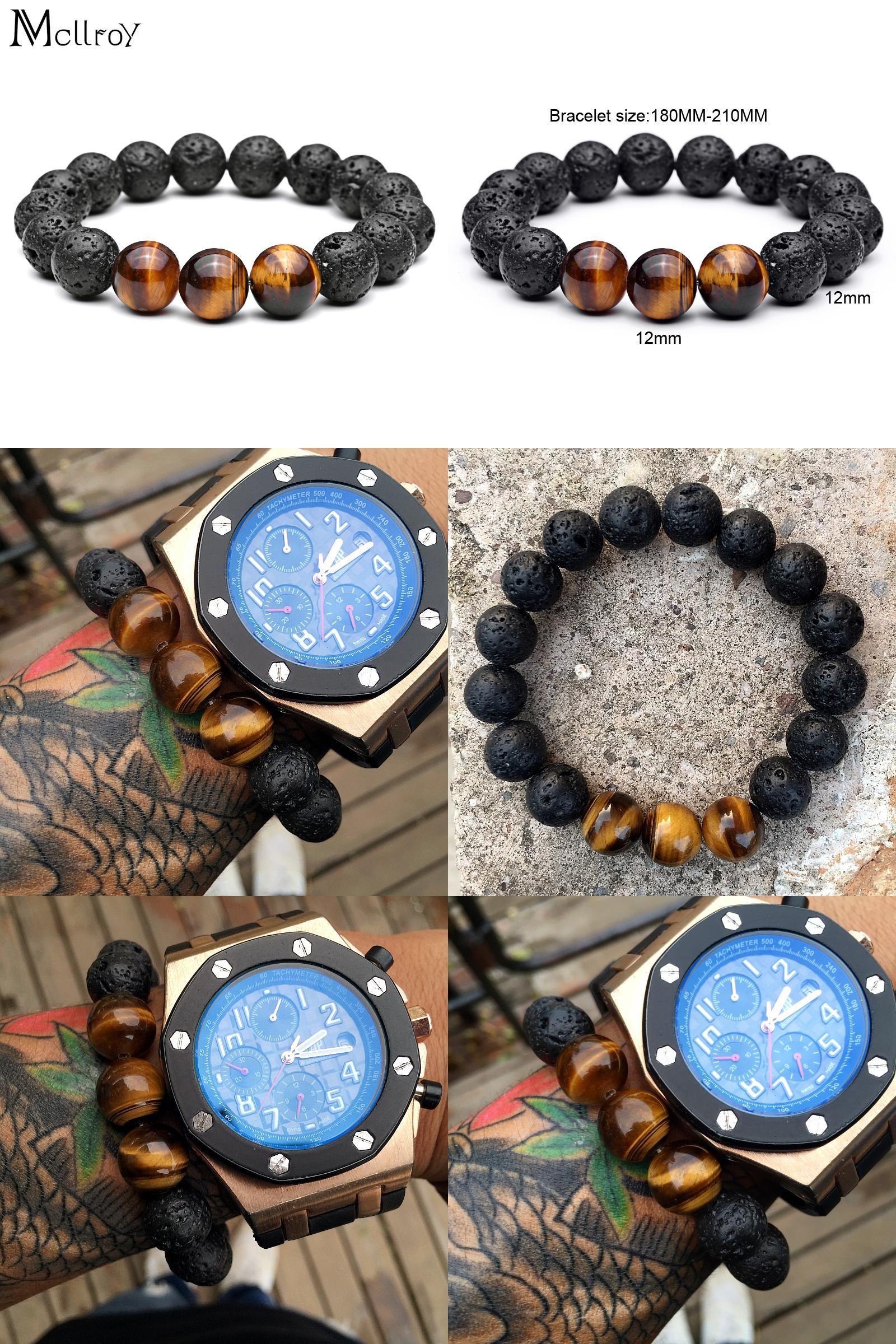 Visit to buy mcllroy diy trendy bracelets for men black lave stone