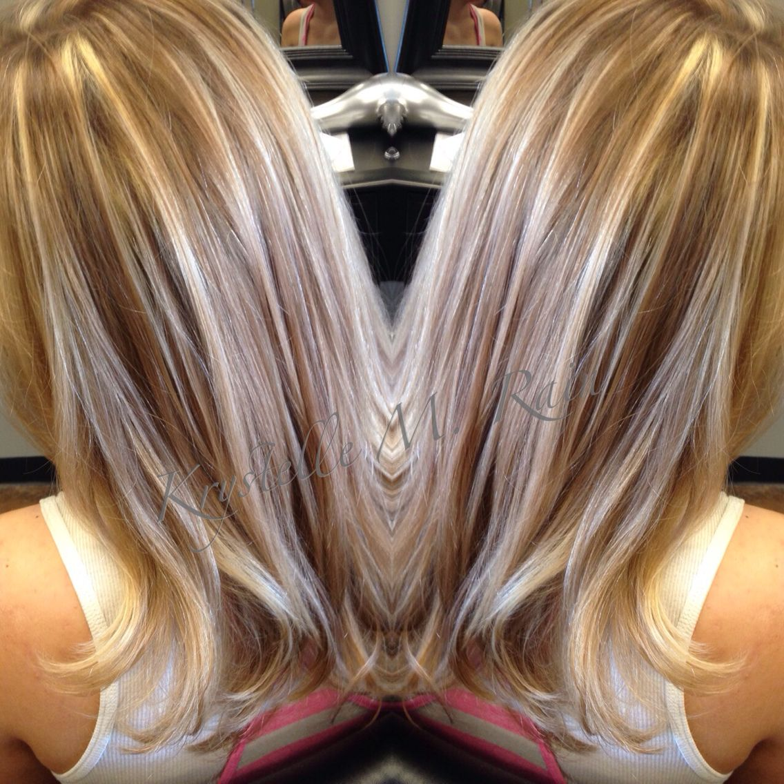 Full Beige Blonde Highlights And Light Golden Brown Lowlights