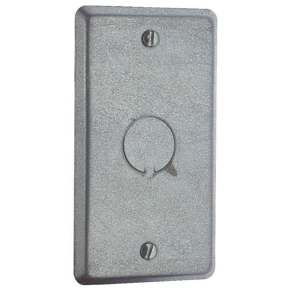Steel City 1 Gang Metal Electrical Box Cover With 1 2 In Knockout Case Of 25 58c6 25r Metal Electrical Box Covered Boxes Steel