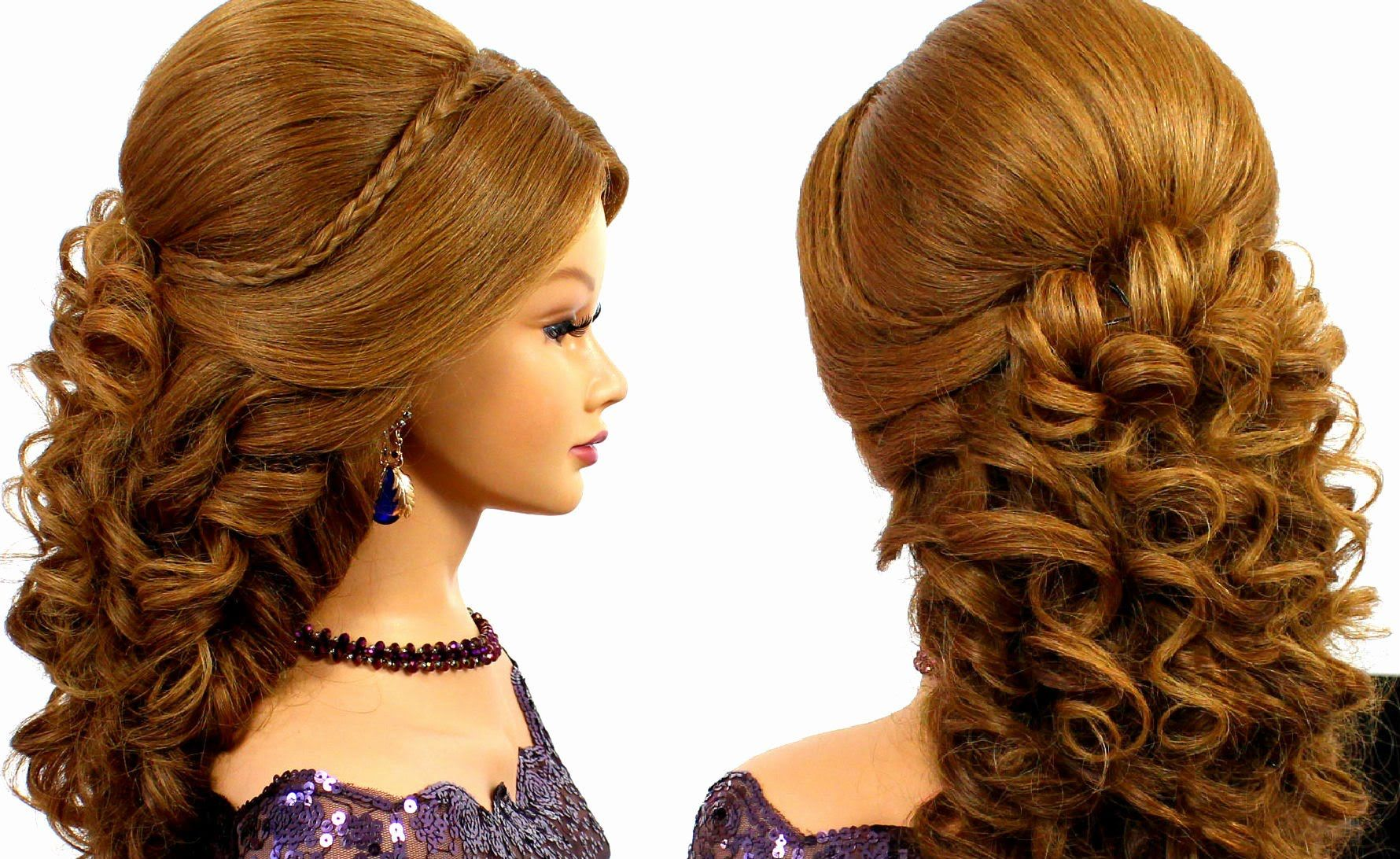 Romantic wedding prom hairstyle for long hair braided buns