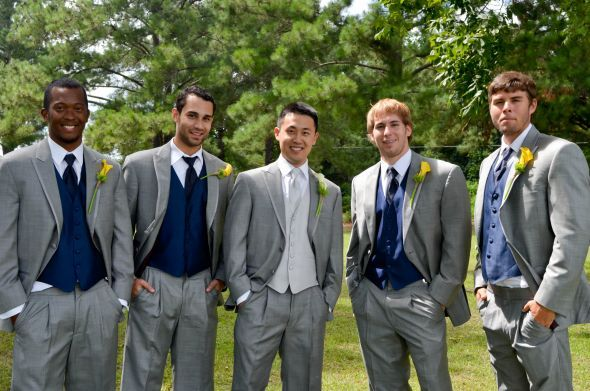 gray pinstripe suits with horizon blue vests for the groomsmen ...