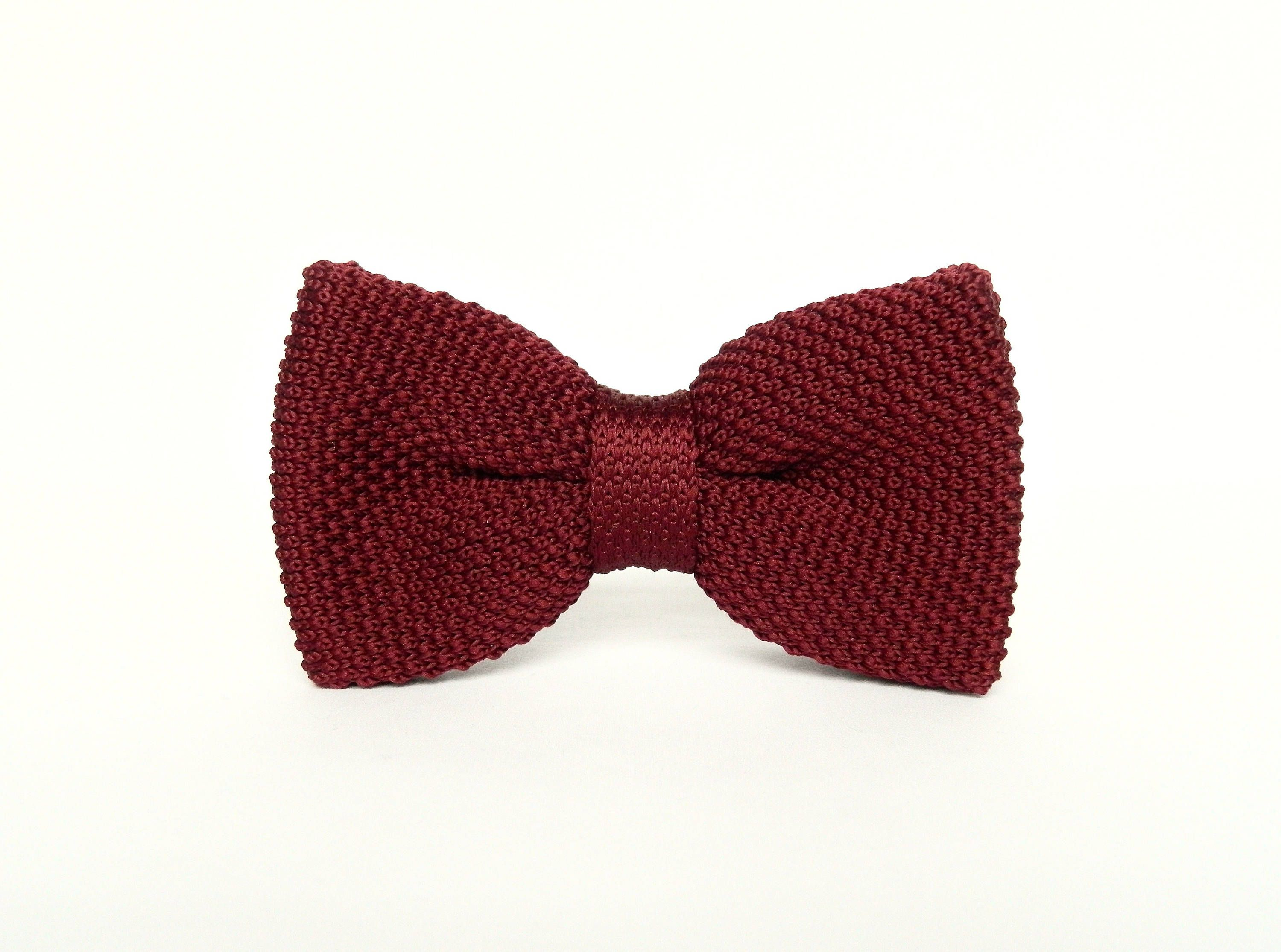 Burgundy Knitted Bow Tie Pre Tied Bow Tie Gift For Men