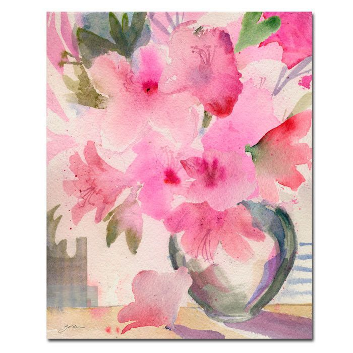 'Pink Azaleas' by Sheila Golden Painting Print on Wrapped Canvas