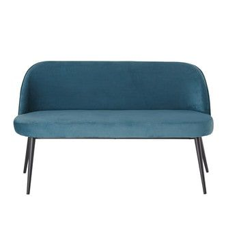Divanetto vintage 3 posti in velluto blu - Maurice   sweet home ...