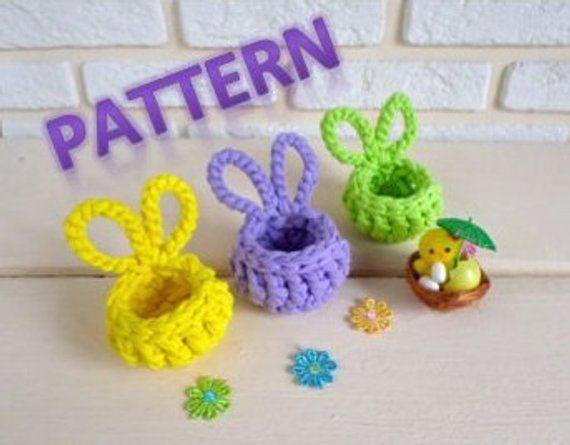 Mini Easter Bunny Basket Crochet Pattern ,Easter R