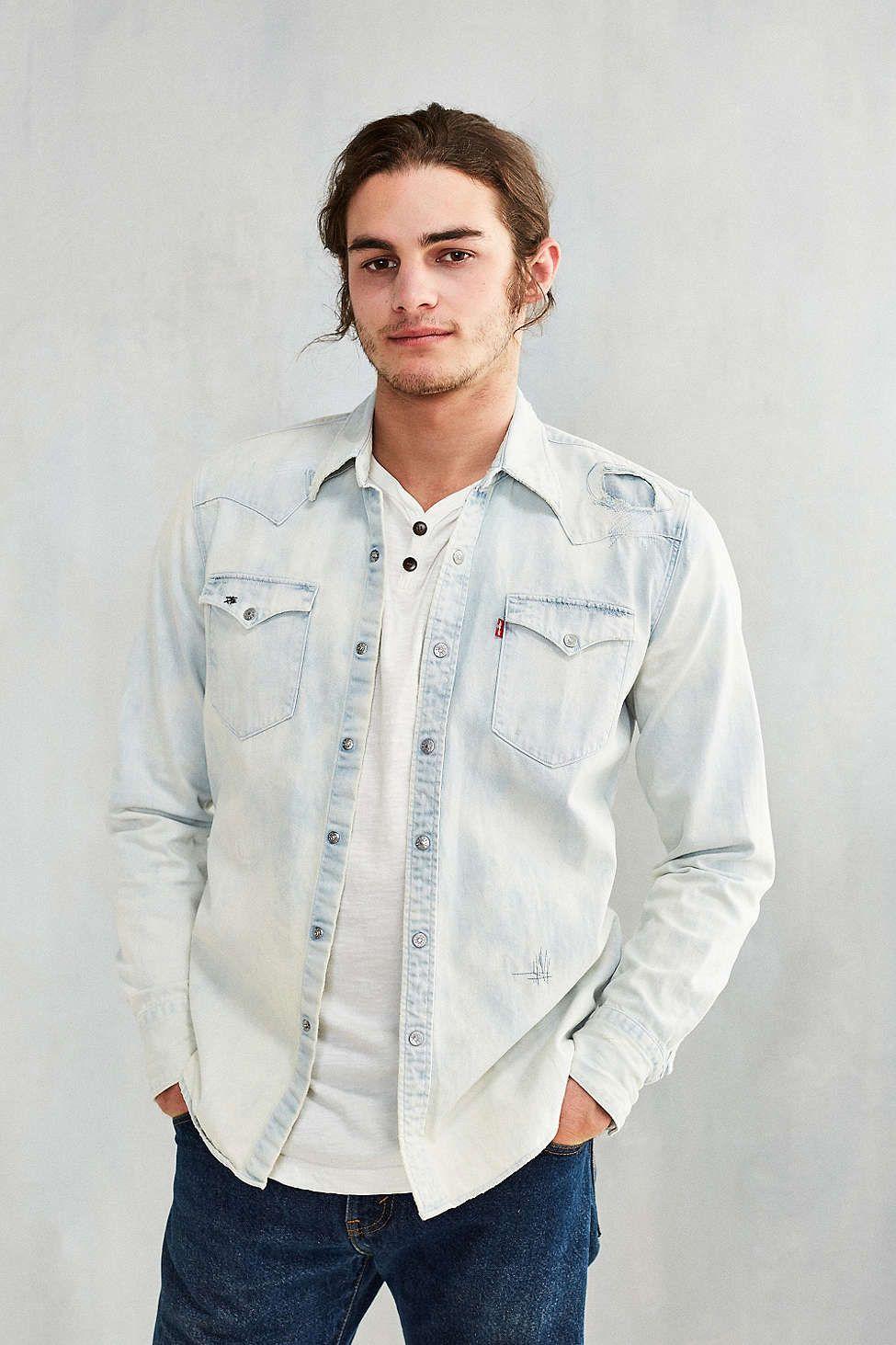 5e819e5311 Levis Barstow Repair Denim Western Shirt - Urban Outfitters