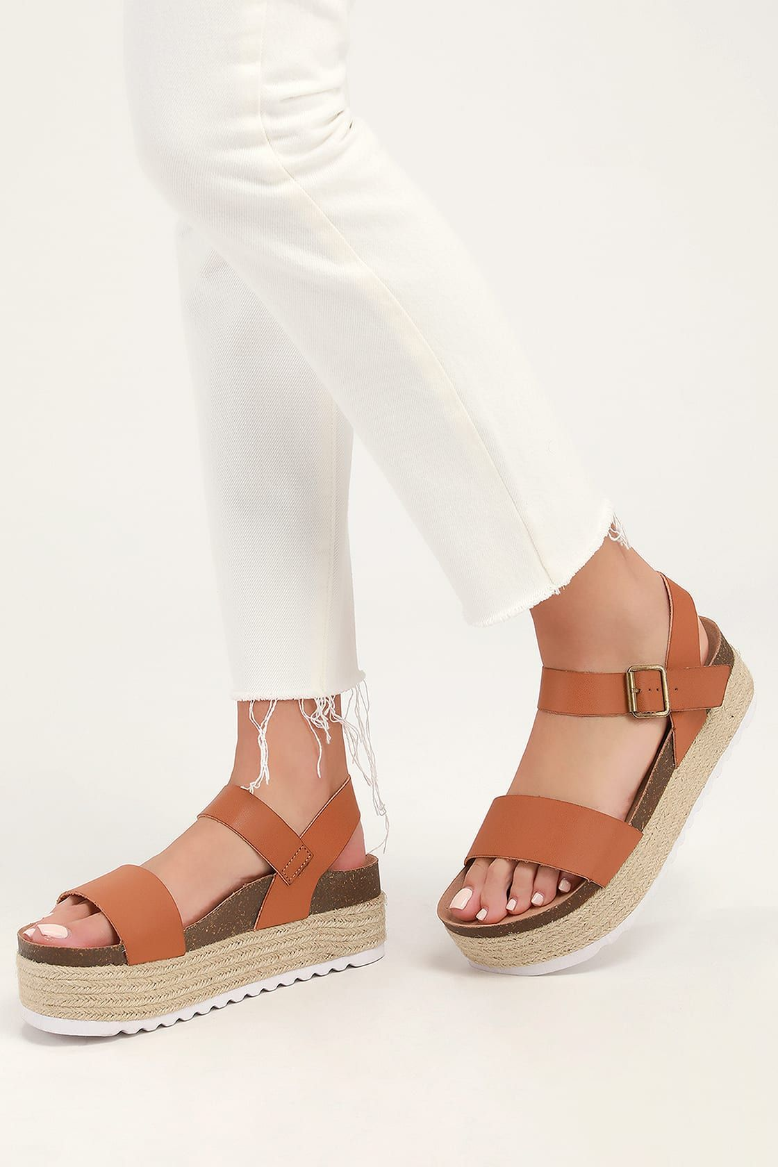26ea0a46b13 Palms Smooth Saddle Brown Espadrille Flatform Sandals in 2019 ...