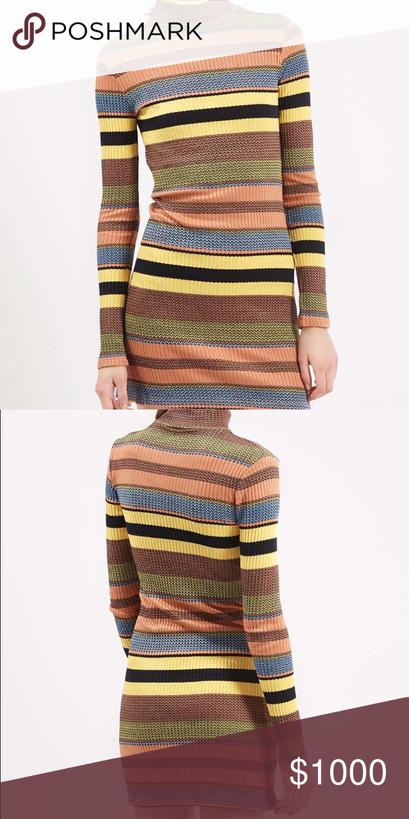 ISO Topshop 70s Stripe Roll-Neck Tunic I am in search of this exact Topshop dress in a size 2. Please let me know if you're selling or able to find this dress!! ❤️ Topshop Dresses Long Sleeve
