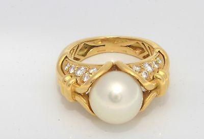 Authentic 18k Gold 9.8mm Cultured Pearl Diamond Bvlgari Bulgari Ring Size5 10.0g
