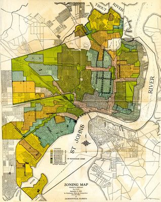 1930 Zoning Map of Jacksonville FL