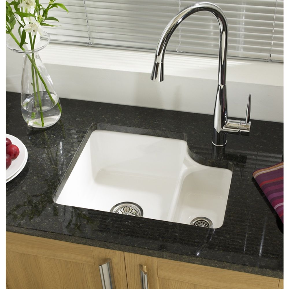 White ceramic single undermount kitchen sinks on granite - Undermount ceramic kitchen sink ...