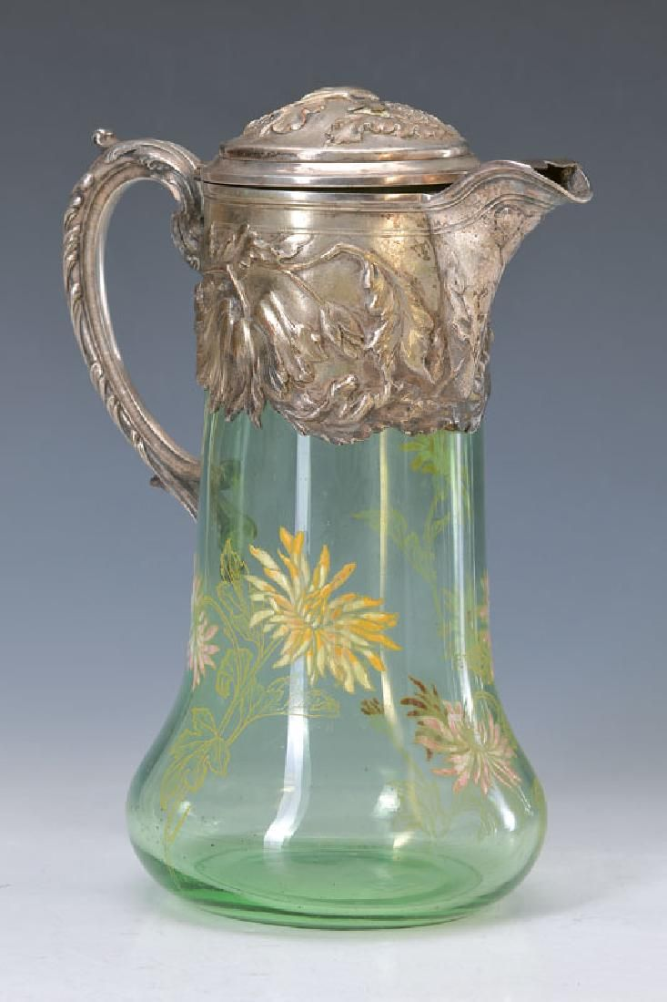 carafe, France, around 1900, green glass with floral enamel painting, opulent embossed metalcasing