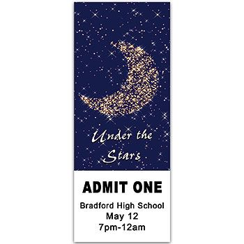 The Moon and Stars Ticket has a charming design of the star filled