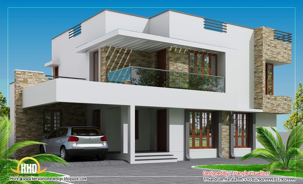 Elevations of residential buildings in indian photo for Modern house designs and floor plans in india