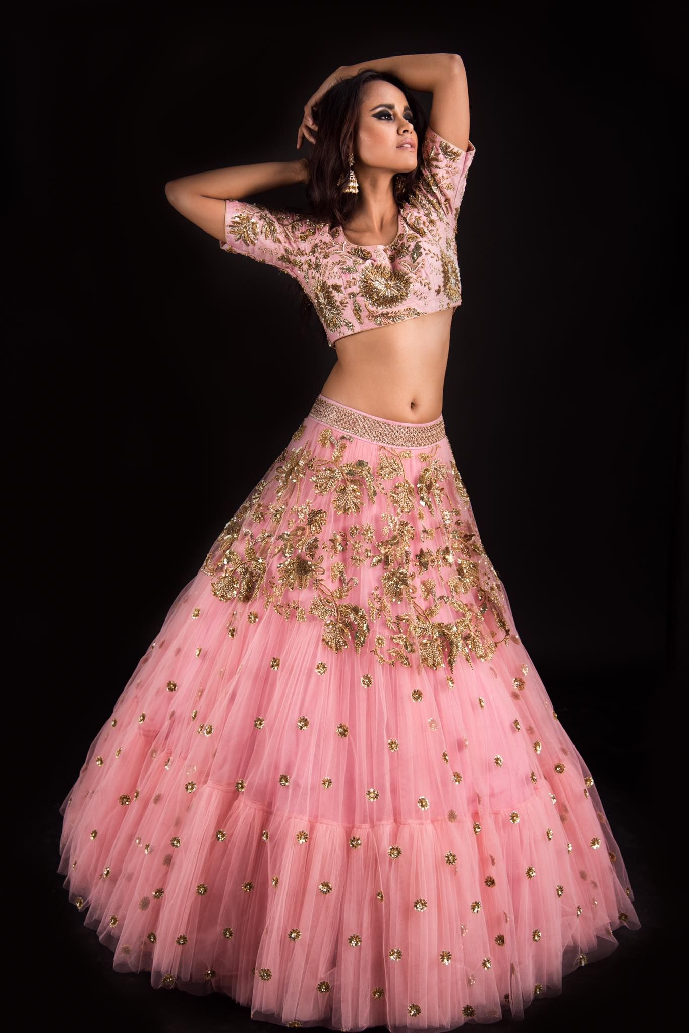 It s enough to make you blush. Beautiful blush pink color lehenga and blouse from banjara collection of Mrunalini Rao.