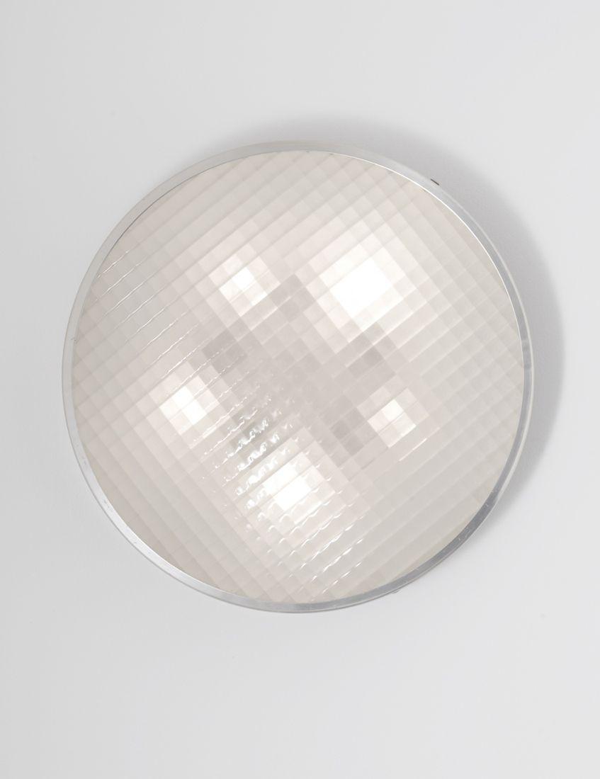 Gino Sarfatti; #3110/20 Aluminum and Glass Flush-Mount Ceiling ... for Ceiling Lamp Texture  75tgx