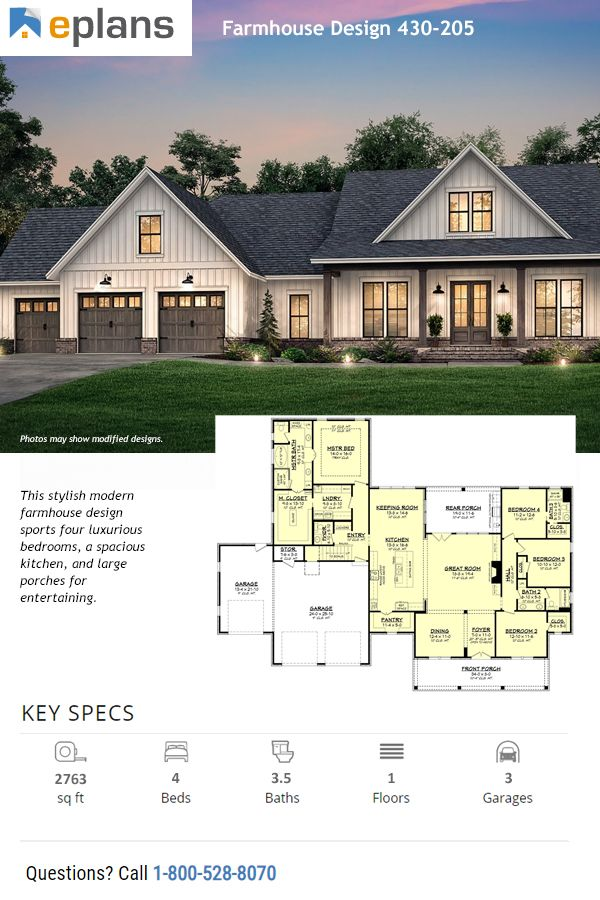 $1295+ (best price guaranteed) | This stylish modern farmhouse design sports an open layout. Questions? Call 1-800-528-8070 today. #dwell #design #designhome #homeplan #houseplan #architect #architecture #residence #house #home #newhome #newhouse #floorplan