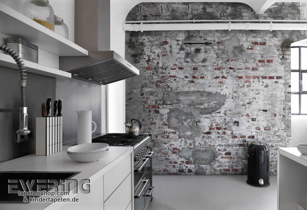 Rasch Factory 01   Wirkt Täuschend Echt: Das Wandbild Mit Stein Mauer Optik  In Grau Zieht Jeden Blick Auf Sich.