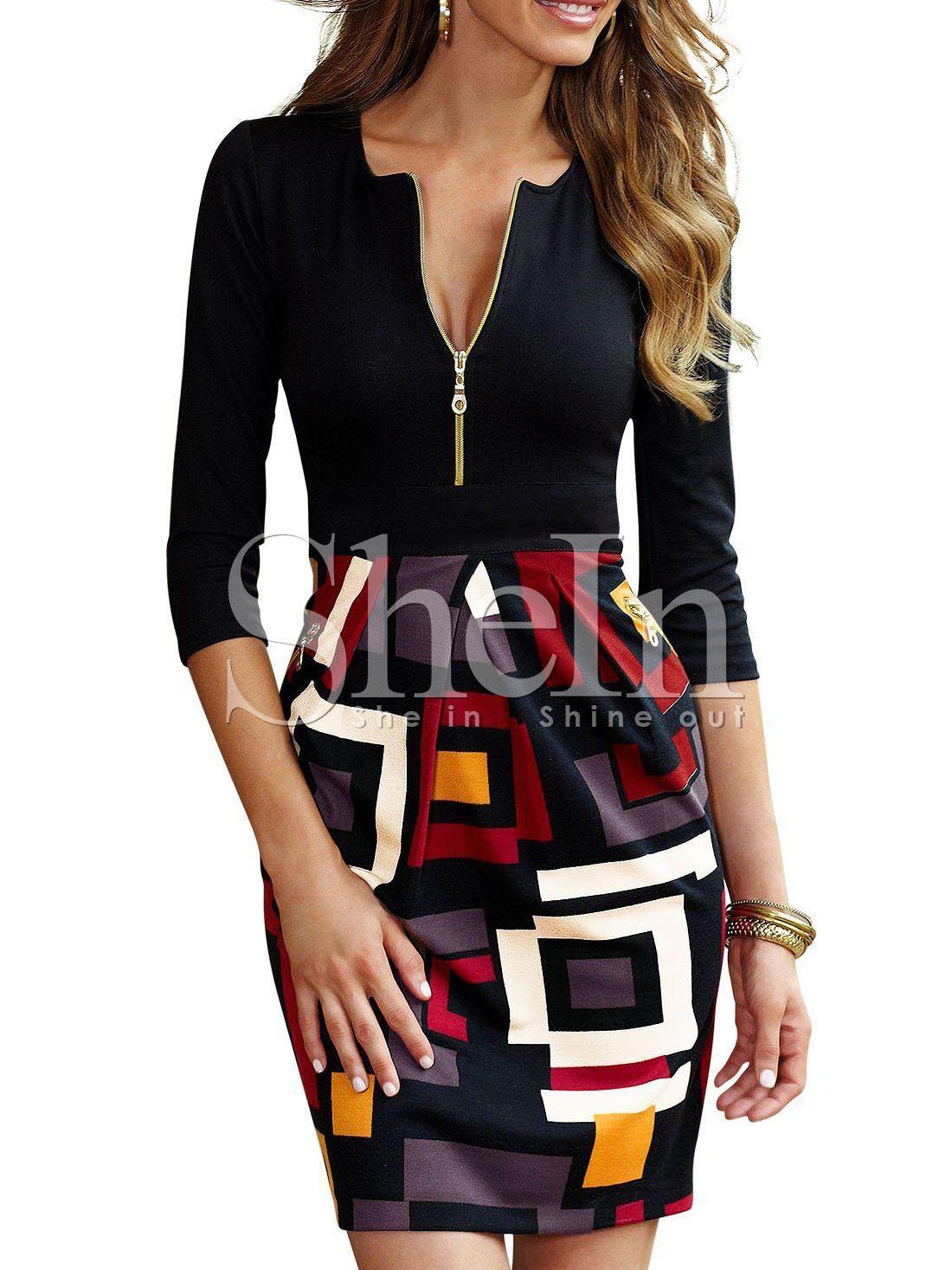 Black Half Sleeve Careers Abstract Print Dress  Bodycon dress