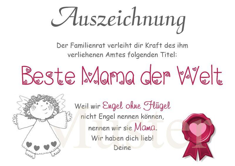 Urkunde Beste Mama Der Welt Din A4 Von Aus Liebe Wird Papier Auf