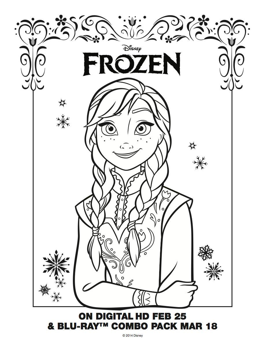 Frozen birthday party coloring pages - Anna Coloring Page Frozen Movie Night Disney Movie Night Family Movie Night