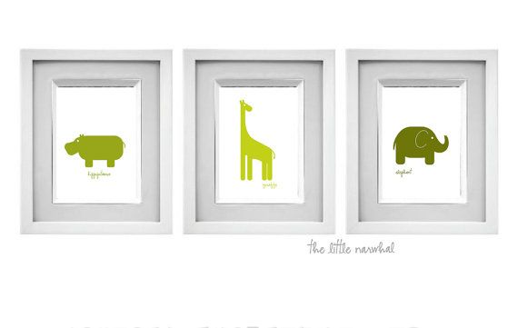 Set of 3 Prints  Safari Animals Green  8x10 by TheLittleNarwhal, $26.00