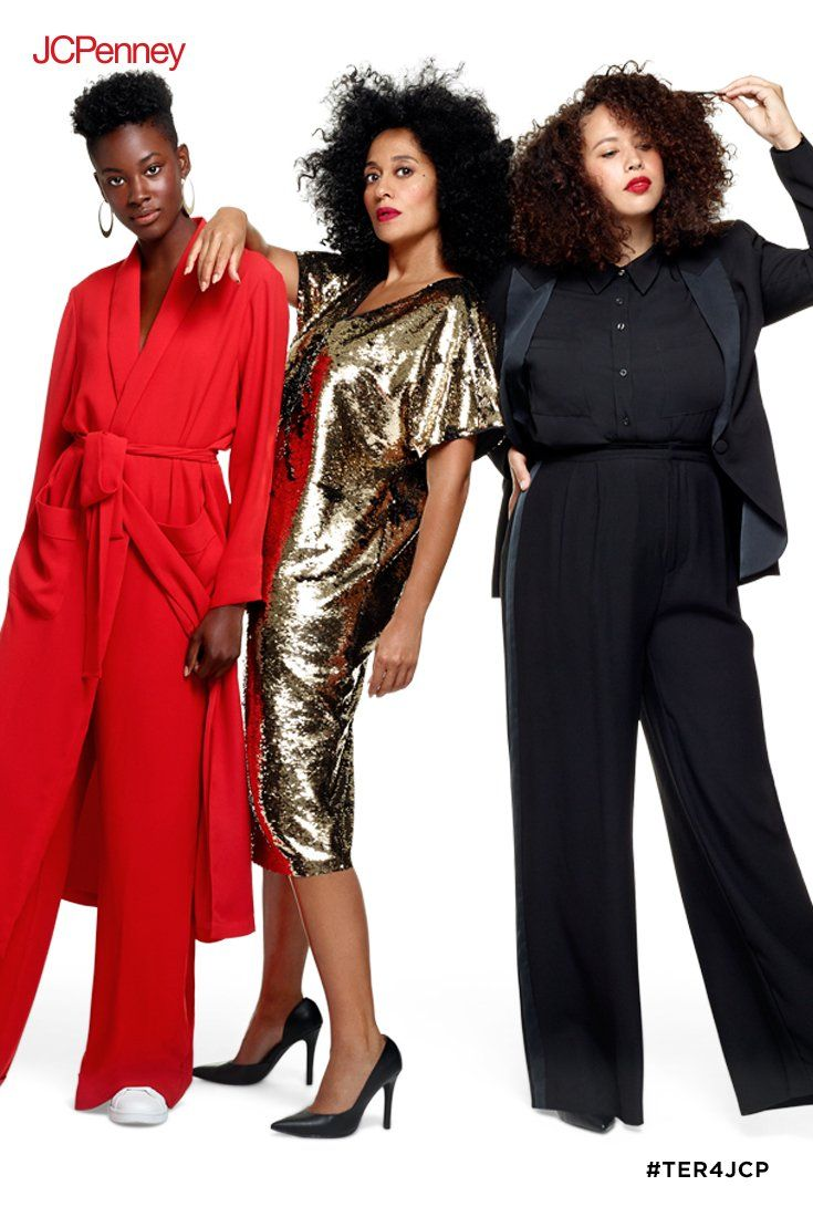 ec54e07737 Tracee Ellis Ross brings you three holiday looks guaranteed to turn heads.  A head-to-toe fabulous red look. A black and gold reversible sequin dress.