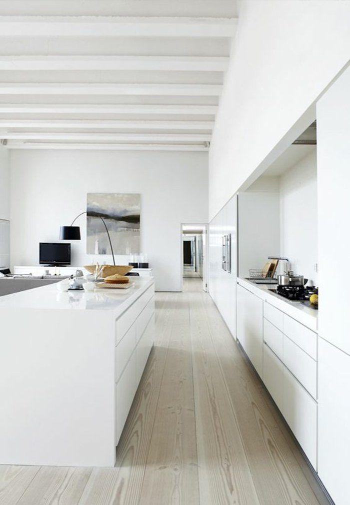 Offene Küchen In Weiß Hochglanz Kücheninsel Mit Schlichtem Design