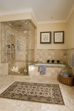 master bath. tile inlay in floor is nice. shower stall is