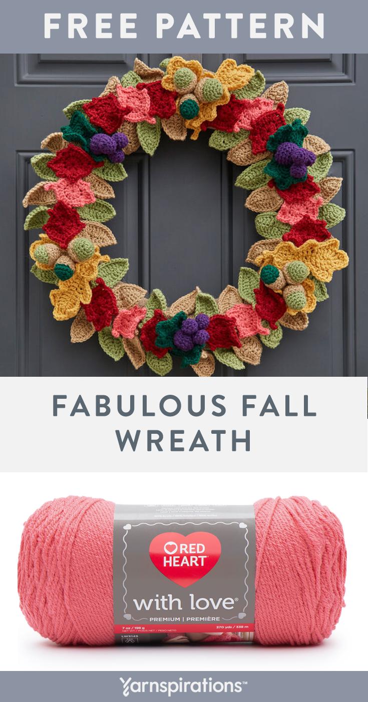 Photo of Free crochet pattern using Red Heart With Love yarn. Free Fabulous Fall Wreath c…