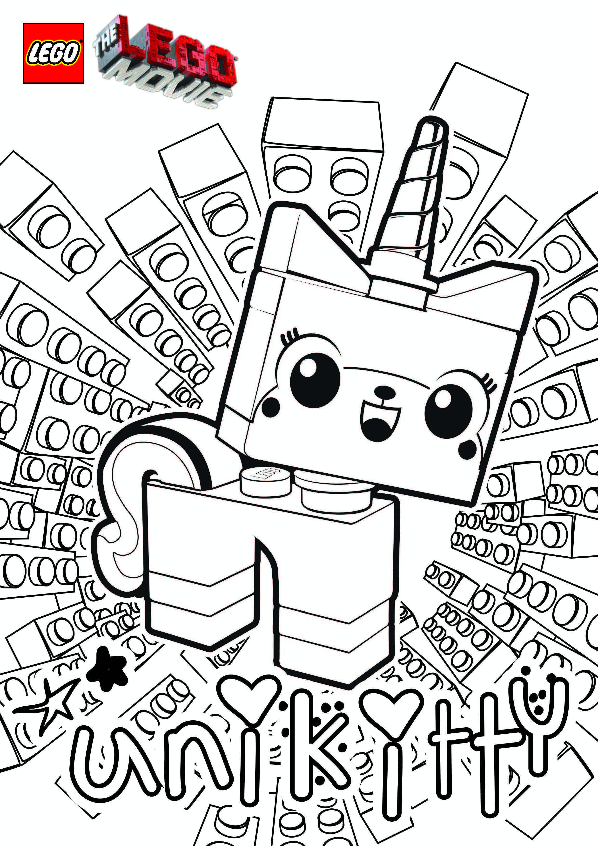 The Lego Movie Unikitty Coloring Page Lego Movie Coloring Pages Lego Coloring Pages Unicorn Coloring Pages