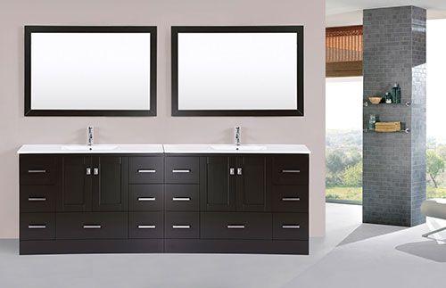96 Redondo Espresso Double Modern Bathroom Vanity With Integrated