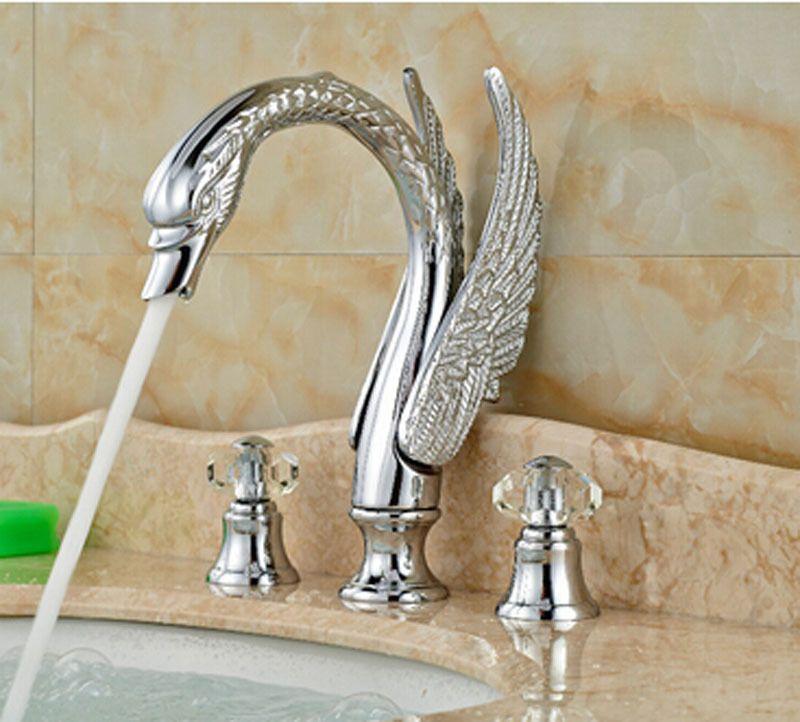 Luxury Chrome Brass Swan Faucet Widespread Vanity Sink Mixer Tap Crystal  Handles In Home U0026 Garden, Home Improvement, Plumbing U0026 Fixtures | EBay