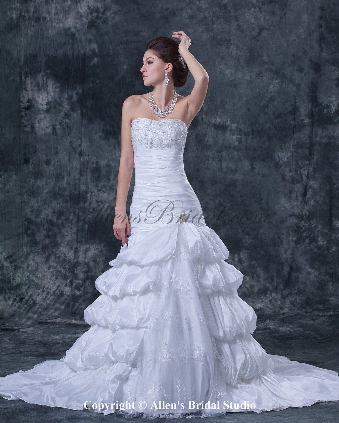 Taffeta and Satin Strapless Cathedral Train Ball Gown