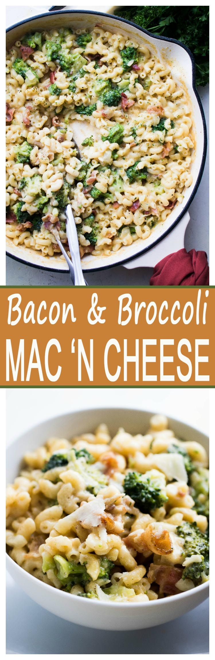 Broccoli Bacon Macaroni and Cheese - Homemade mac n cheese loaded with broccoli, a sprinkle of bacon, and lots of cheesy flavor.