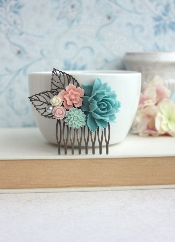 Turquoise Blue Rose Flower Mint Blue Mum Pink Sakura di Marolsha
