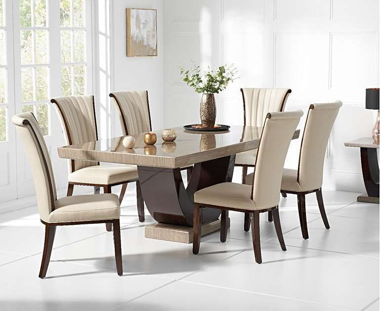 Raphael 170cm Brown Pedestal Marble Dining Table With Alpine Chairs Contemporarydiningsets Le Dining Table Marble Marble Top Dining Table Granite Dining Table
