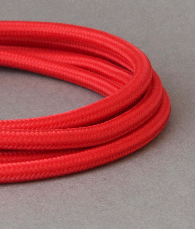 Vibrant Red Fabric Cable for Lighting 8 Amp 3 Core CE Certified ...
