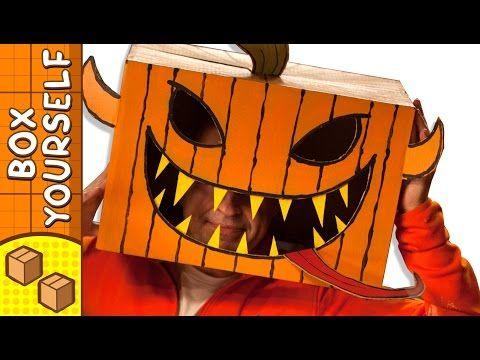 cardboard pumpkin head halloween crafts ideas with boxes diy on boxyourself youtube - Youtube Halloween Crafts