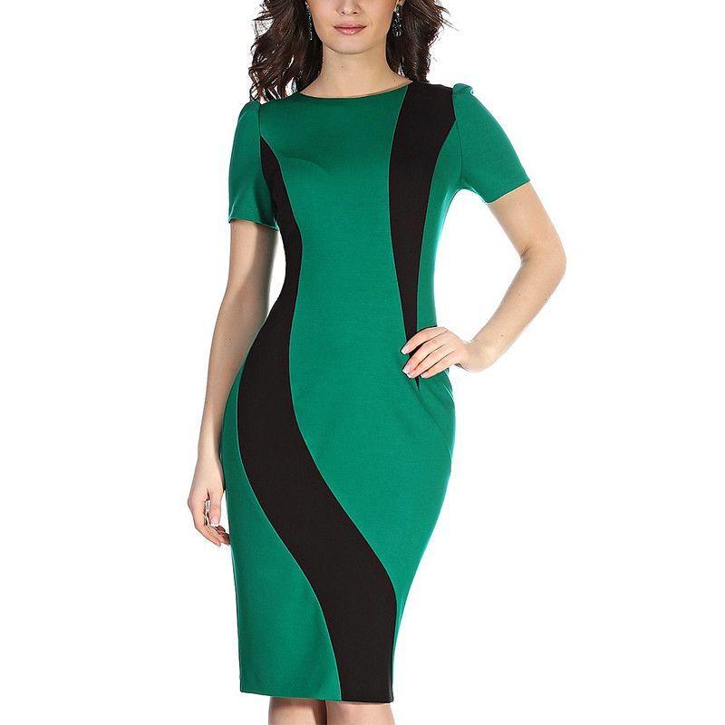 2aaccc0a52 Sexy Vintage Office Bodycon Dress Women Autumn Winter Patchwork Plus Size Short  Sleeve 2016 New Green Midi Dress vestidos 061
