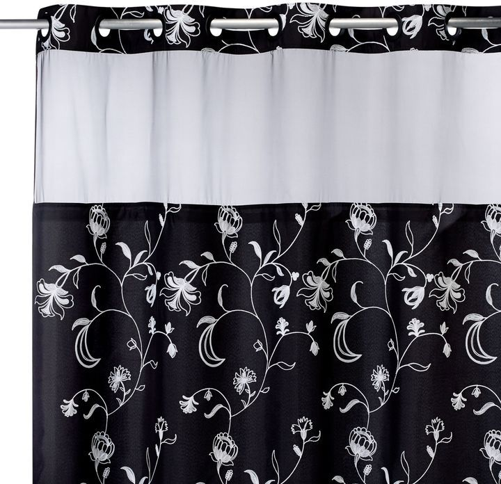 Bed Bath U0026 Beyond Hookless® 71 Inch X 74 Inch Fiona Shower Curtain And Liner  In Black And White On Shopstyle.com