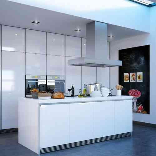 Cuisine îlot central élégance et luxe dans espace - 31 idées - pose d une hotte decorative