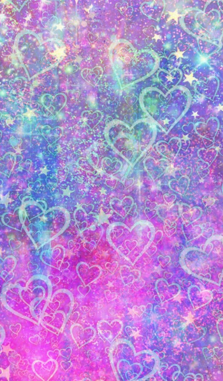 Glittery Hearts N Stars Made By Me Purple Sparkly