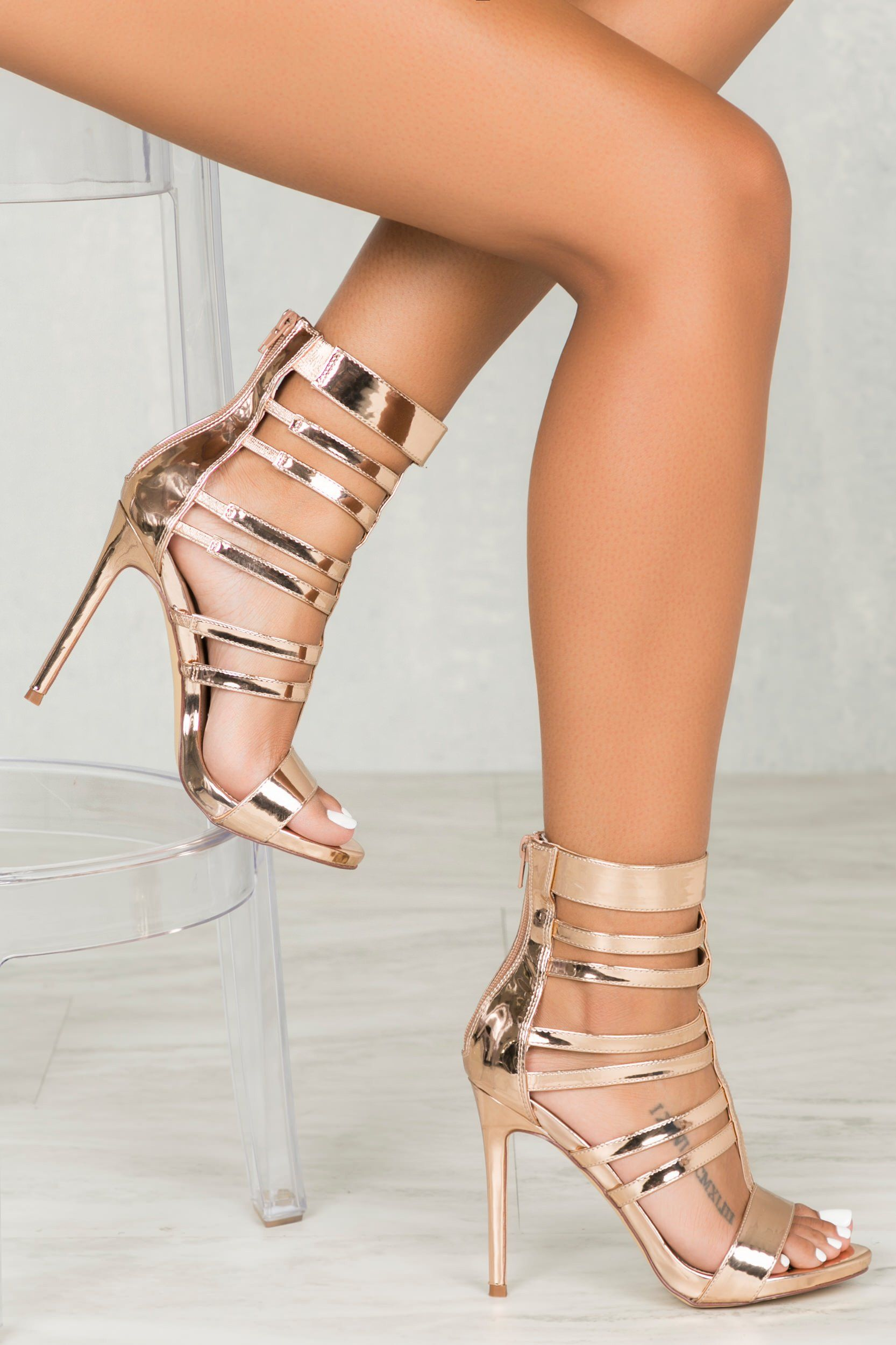 Valery Caged Heel In Rose Gold Shoes Pinterest Schuhe