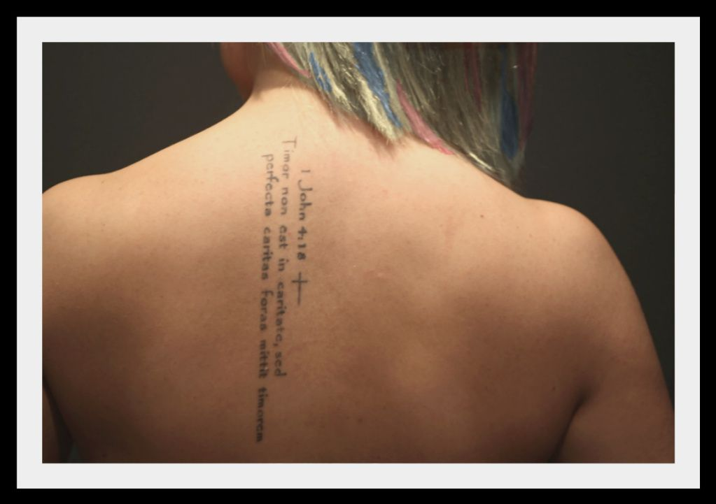Religious Tattoo.  My own back, such a good spot and virtually painless.
