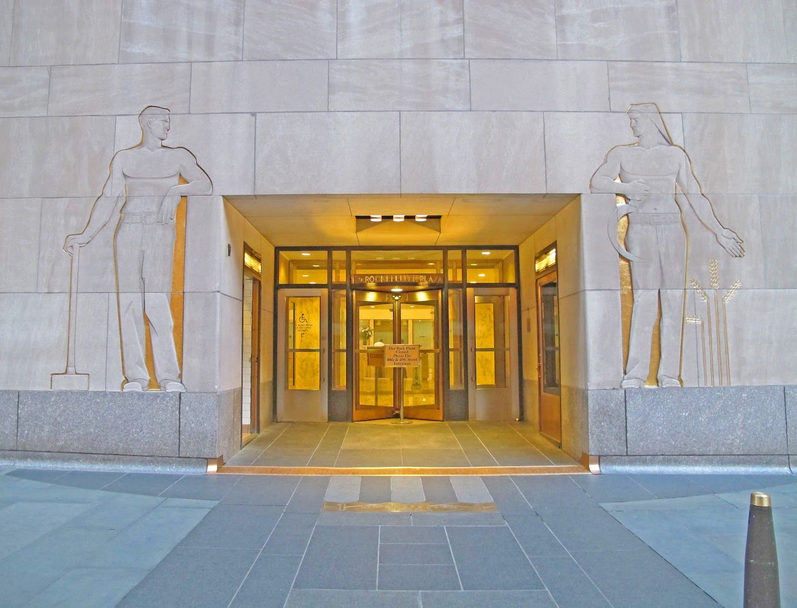 1 Rockefeller Plaza Carl Paul Jennewein S Heroic Sized Limestone Intaglio Carvings Industry And Agriculture Have Fra New York Street Street Level Limestone