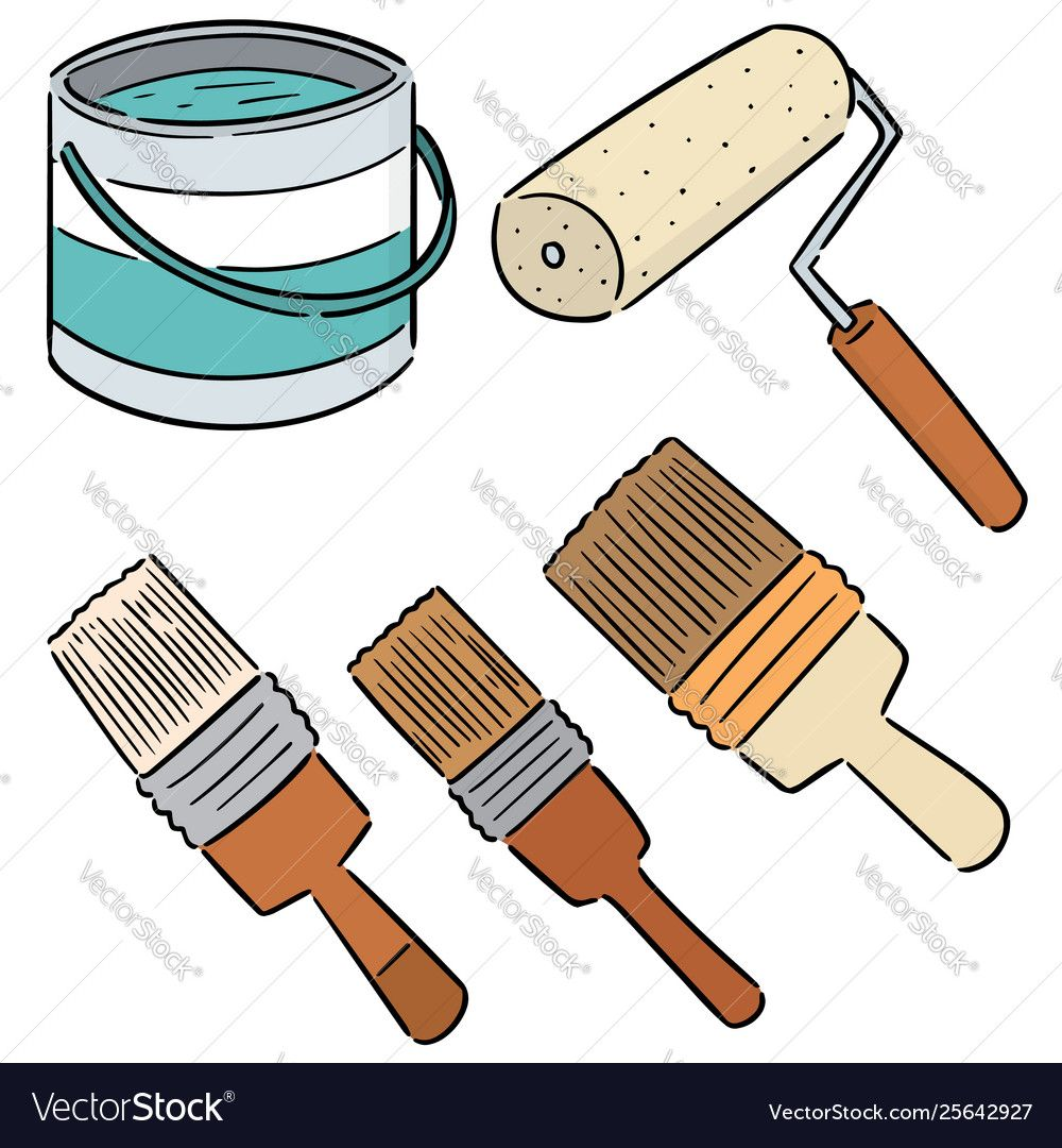 Set Paint Bucket And Paint Brush Vector Image On Paint Buckets Paint Brushes Vector